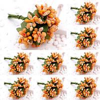 """(ОПТ,12 букетиков) Тычинки """"Незабудка"""" на проволоке с листиками (Цена за пачку) Цвет - Оранжевый"""