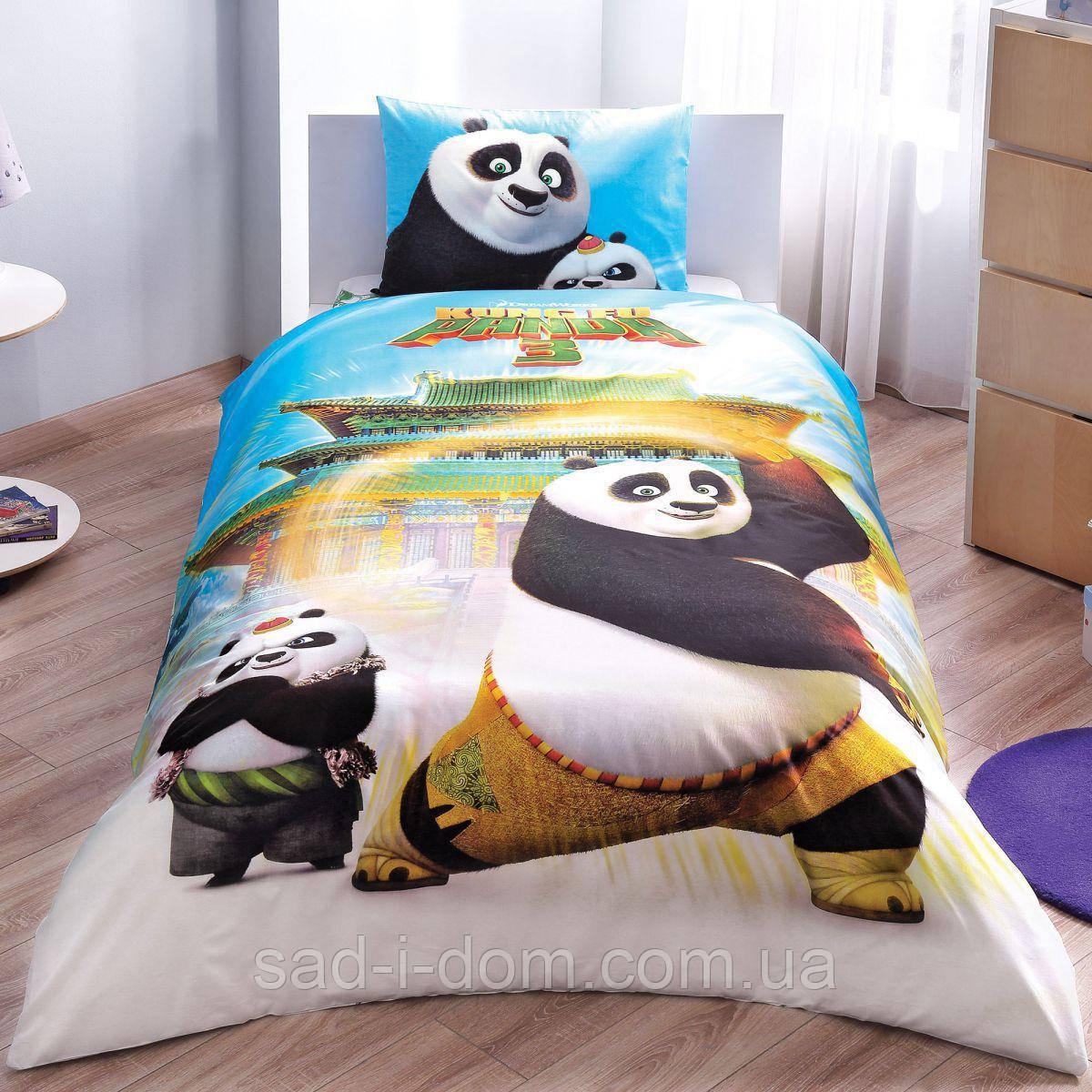 Детское полуторное постельное белье ранфорс, Панда