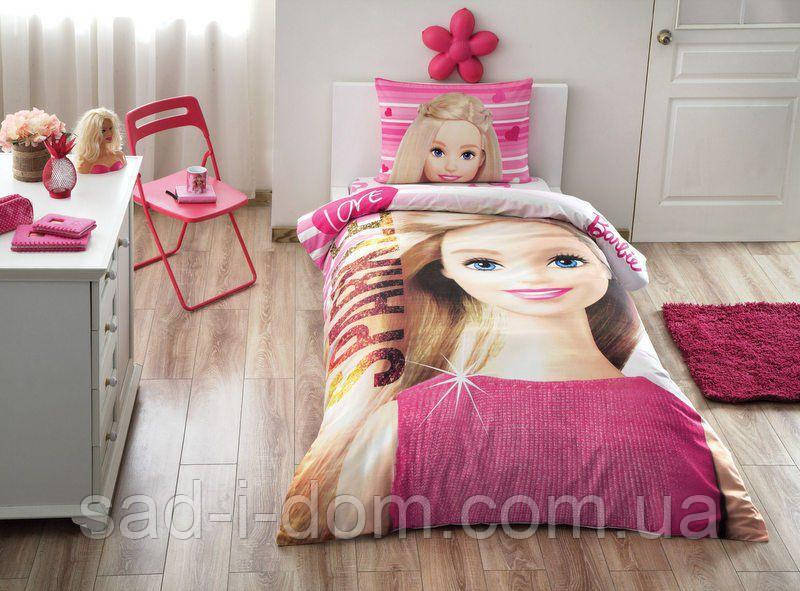 Детское полуторное постельное белье ранфорс, Барби