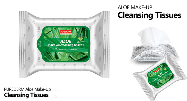 PUREDERM Make-up Cleansing Tissues Aloe