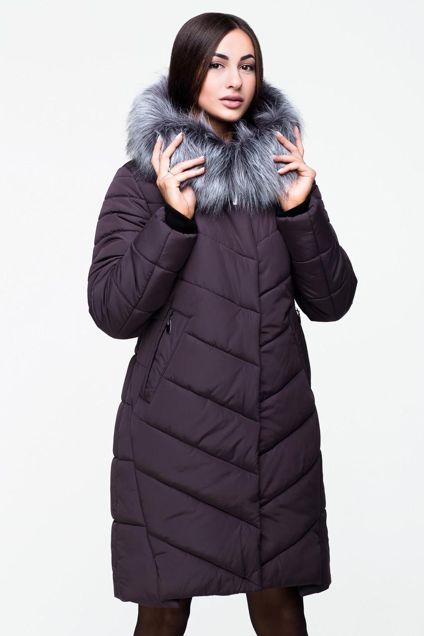 Довга зимова куртка VS Z-150, шоколад, розмір 48
