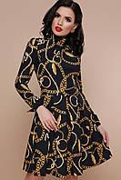 Повсякденна чорна сукня міді з довгими рукавами / S M L XL