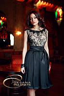 Платье с гипюром и атласом, фото 1