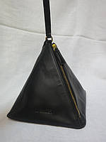 Клатч пирамида натуральная кожа