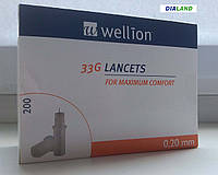 Ланцеты Веллион (Wellion) 33G (0,20мм) 200 штук