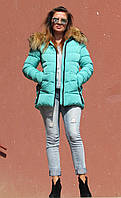 Зимова куртка з хутром єнота, м'ятна, фото 1