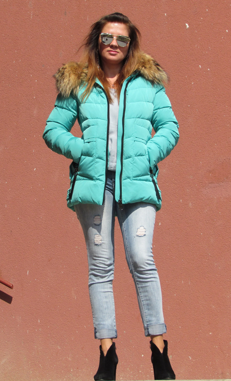 Зимова куртка з хутром єнота, м'ятна