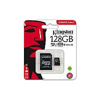 Карта пам'яті microSD 128 Гб Kingston з адаптером, class 10 (UHS-1)