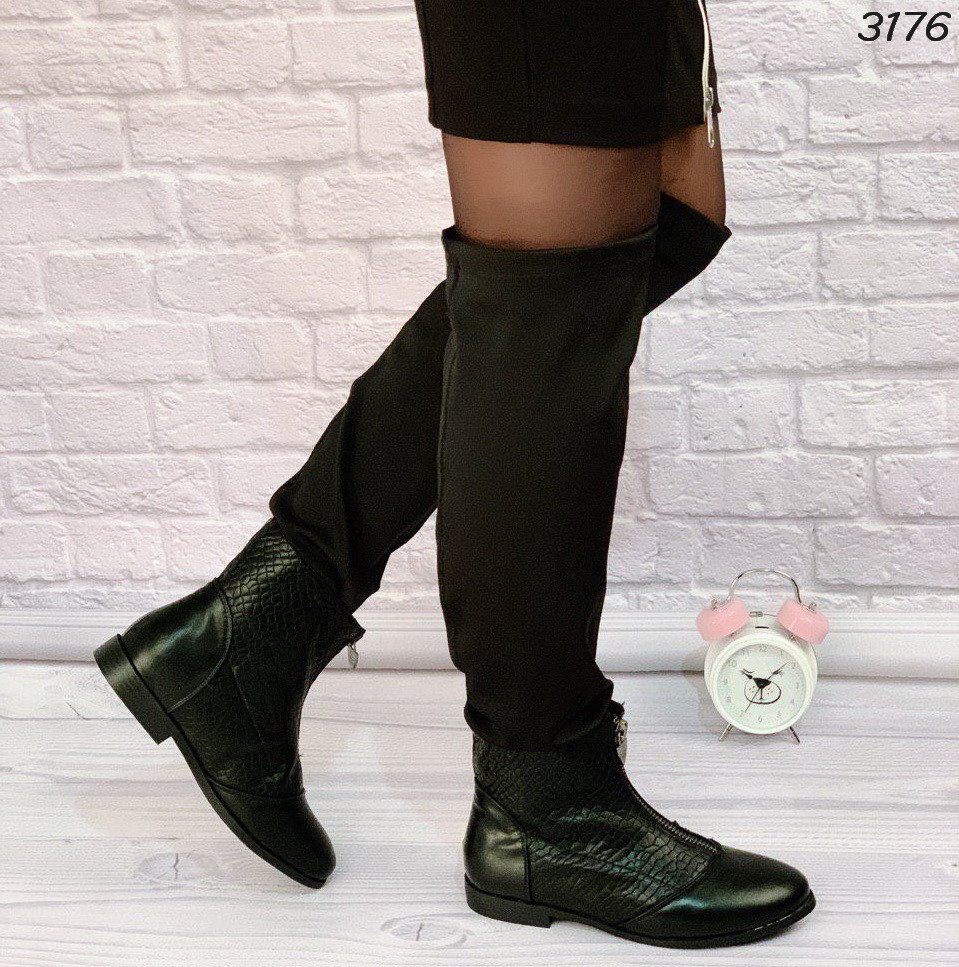 Сапоги женские черные  эко кожа и обувной текстиль деми