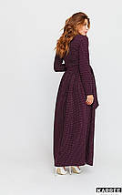 Платье макси с принтом в горошек рукава длинные цвет бургунди, фото 2