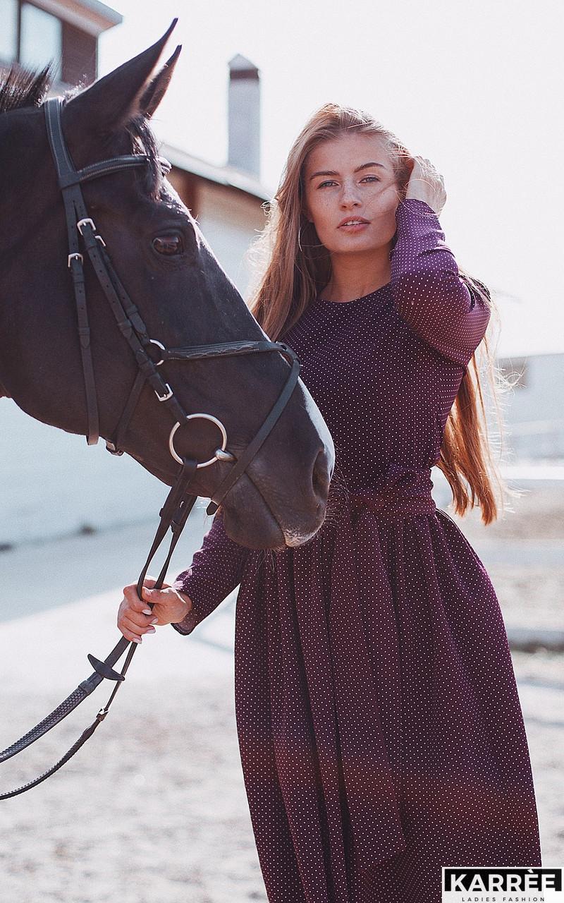 Платье макси с принтом в горошек рукава длинные цвет бургунди