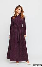Платье макси с принтом в горошек рукава длинные цвет бургунди, фото 3
