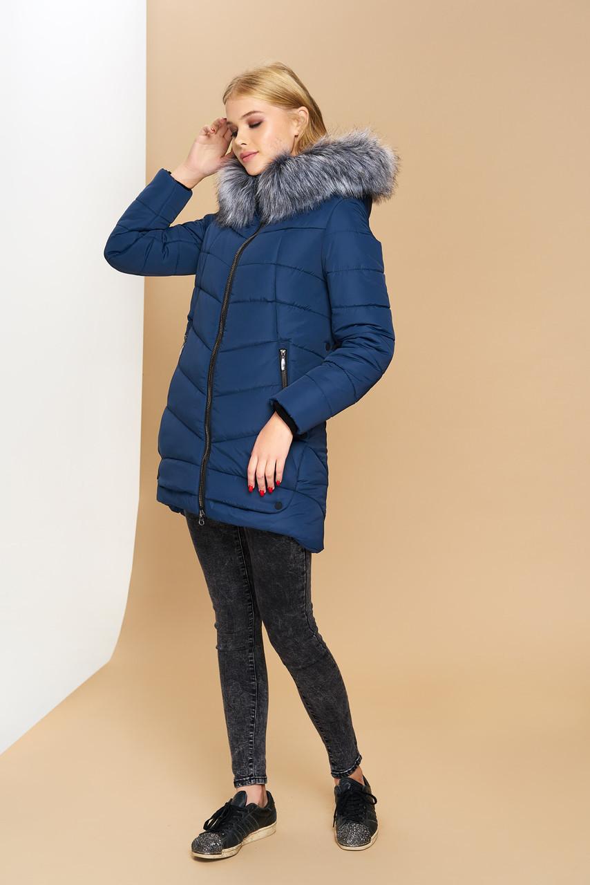 Довга зимова куртка VS Z-148, синя 44