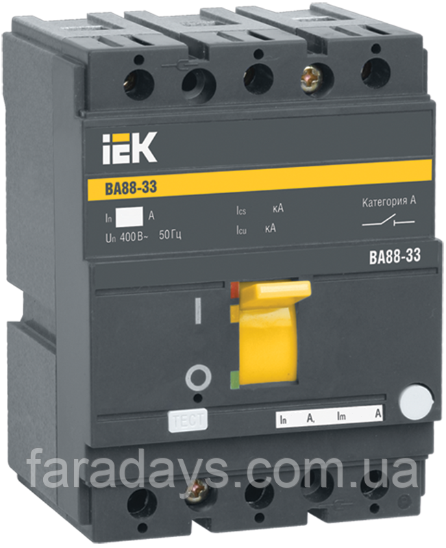 Автоматичний вимикач 3р, Im = 10In, 35кА (ВА88-33 IEK)