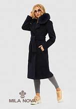 Женское демисезонное пальто из альпаки ПВ-97 Синий