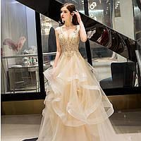 Вечернее платье. Выпускное платье золотое. Вечірня сукня. Вечернее платье ручной работы