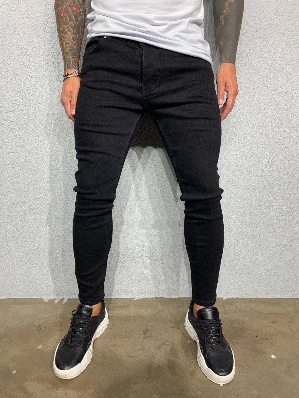 Мужские джинсы зауженные черные Black Island 6017-3433