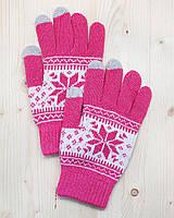 Перчатки для сенсорных экранов Touch Gloves Snowflake pink (розовые)