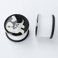 "Плаги ""Черепаха"" для пирсинга ушей, диаметр 18 мм (светятся). Материал: акрил."
