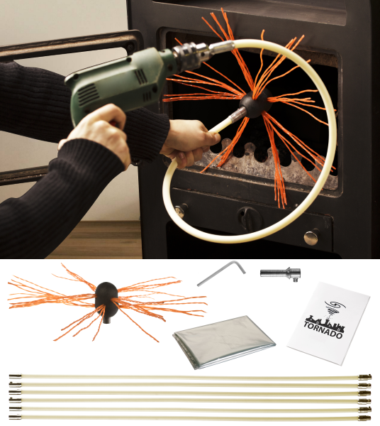 «TORNADO PRO» роторный набор для чистки дымохода HANSA диаметр гибких ручек 17 мм (8 метров)