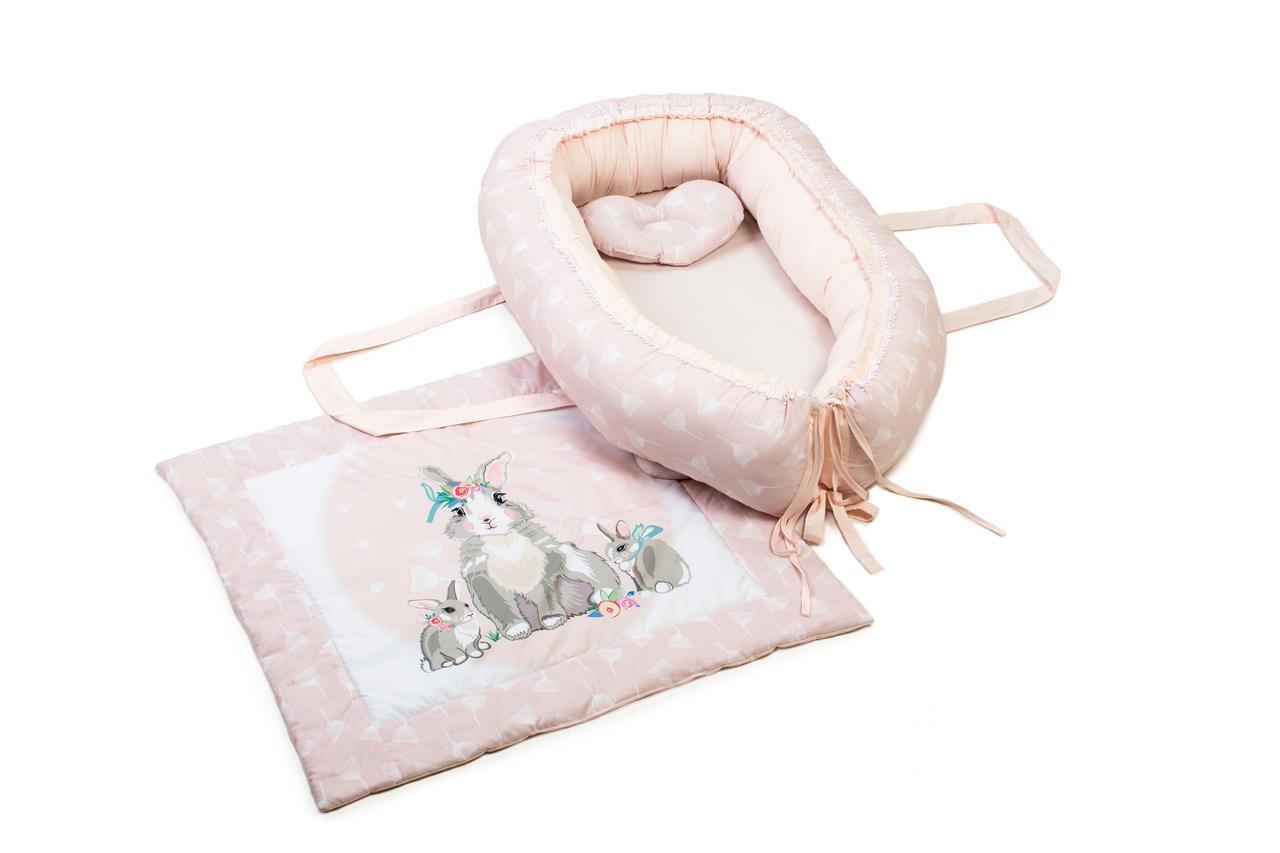 Кокон-гнездышко с одеялком Veres Summer Bunny pink
