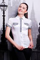 Женская блузка короткий рукав для офиса р.S,M,L белый-клетка