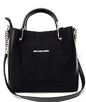 Замшевая сумка Майкл Корс черного цвета