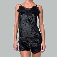 Женская пижама шорты/майка мраморный велюр M-7052 черная, фото 1