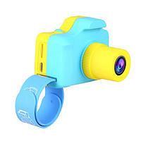 """Детская Цифровая Фотокамера UrbanKids с 1.77""""-дюймовым дисплеем для фото-и видеосъёмки Голубой с жёлтым"""