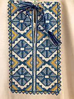 Футболка-вышиванка с коротким рукавом для мальчика белая с голубой вышивкой р.104
