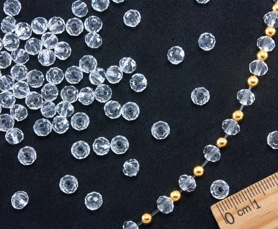 "(500грамм ≈ 5140шт) Кристаллы для декора ""Бусины Рондели"" 6х5мм (пластик) Цена за 500грамм"