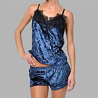 Женская пижама шорты/майка мраморный велюр M-7062 темно-синяя, фото 1