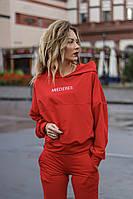 Женский осенний спортивный костюм с капюшоном бордо красный черный хаки пудра 42-44 44-46, фото 1