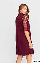 Платье цвета бордо с воротником- стойка свободно кроя цвет бургунди, фото 3