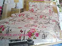 Комплект постельного белья двуспальный 100% хлопок Тиротекс сублимация КБ-31 Париж розовый