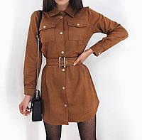 Платье женское стильное замш чёрный пудра красный коричневый серый 42-44 46-48