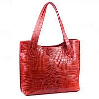 Кожаная красная сумка под крокодила