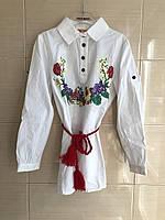 Блуза удлиненная белая для девочки с поясом и вышивкой Тюльпан