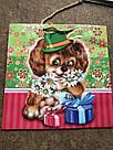 Подарочный бумажный пакет КВАДРАТ 24*24*10 см Собака, фото 3