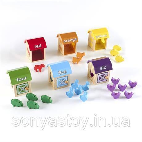 Игра Manipulatives Кто в домике, учит счету, цветам и начальному английскому, 2+