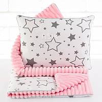 Плед и подушка с графитовыми звёздами розового цвета.