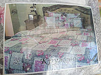 Комплект постельного белья Евро размер 100% хлопок байка Тиротекс сублимация Кружево
