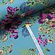 Ткань сатин с рисунком, розы на изумрудном (ТУРЦИЯ шир. 2,4 м), фото 3