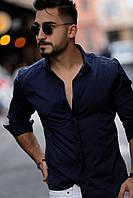 Темно-синяя мужская рубашка с длинным рукавом из Турции, новинка 2019 года