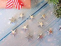 """Новогодний декор, серединка для бантика """"Звездочка"""", цвет серебро, 15х14 мм, 10 шт"""