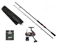 """Набір риболовний все в одному """"Спінінг 5-25гр з котушкою"""" для ловлі хижака, готовий до використання"""