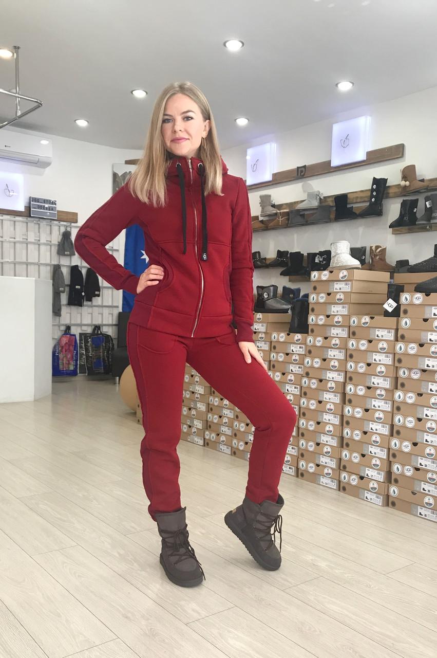 Бордовый теплый женский костюм на молнии от Угг UGG Zip Merino Bordo