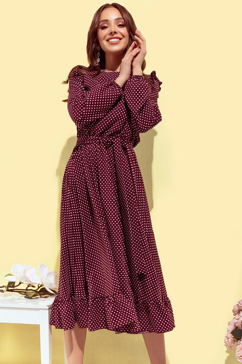 Платье женское с рюшиками в горох Бордовый