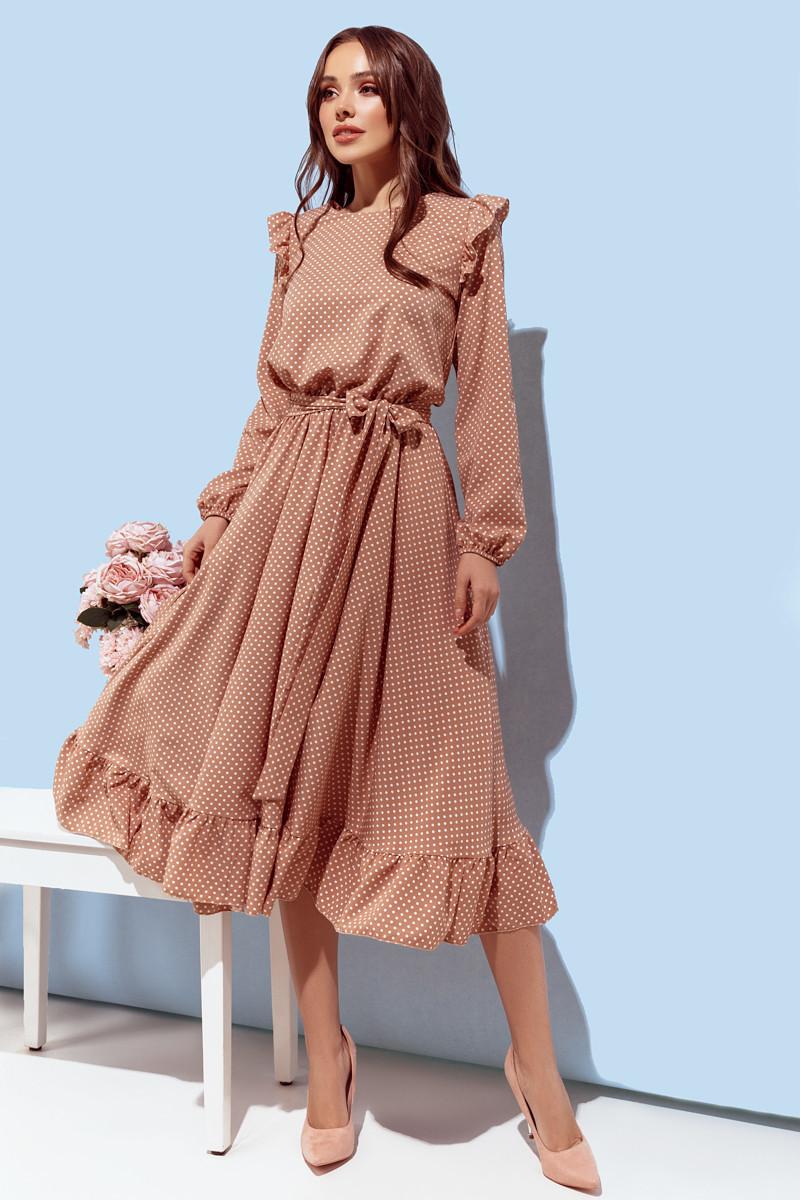 Платье женское с рюшиками в горох Бежевый