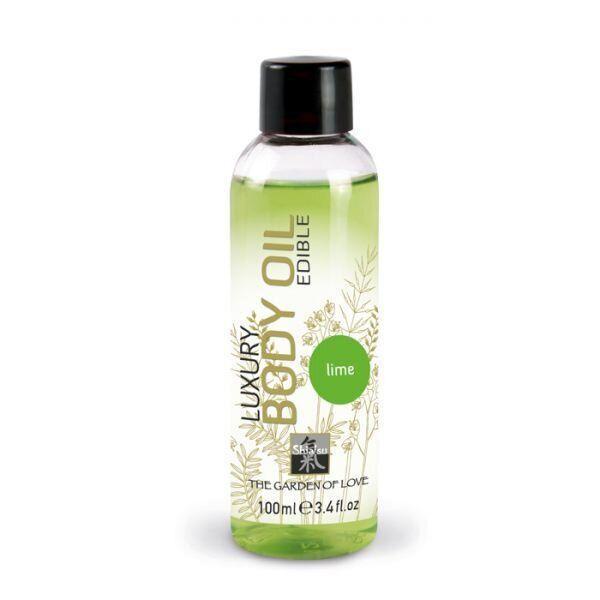 Съедобное масло для тела SHIATSU Luxury Body oil EDIBLE с ароматом лайма 100 мл. Съедобные смазки
